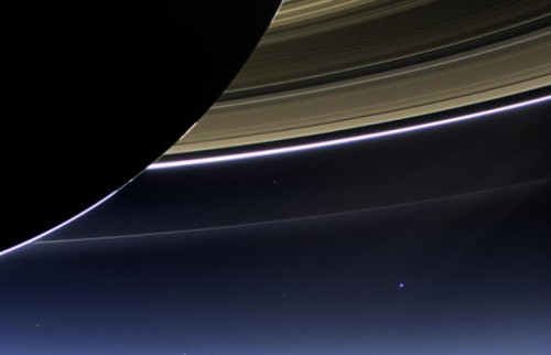 In this closeup of the above image, you can see Earth on the lower right.