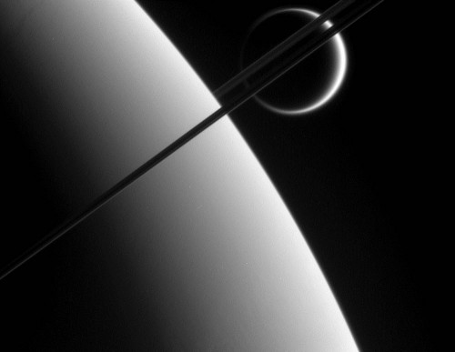 Captured May 10, 2006. Saturn and it's rings and largest moon, Titan.