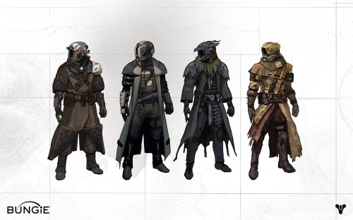 Official Bungie concept art of Destiny Warlock Class armors.