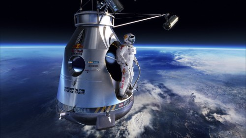 Felix Baumgartner prepares to leap into free fall Oct 14, 2012