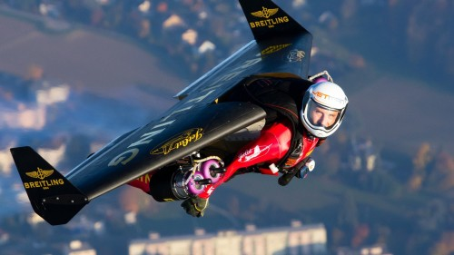 Yves Rossy (Jetman) flying in his jetpack invention