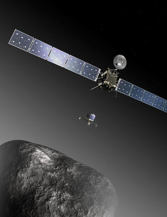 Artist's rendering of Rosetta lowering Philae. Image: ESA