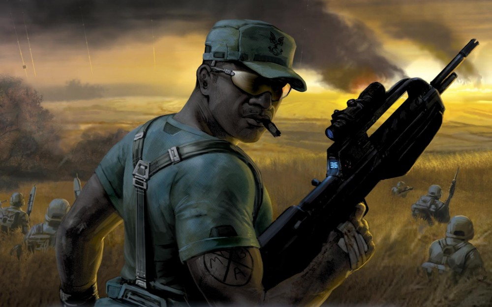 "Sergeant Johnson cover art,  Halo novel ""Contact Harvest"""