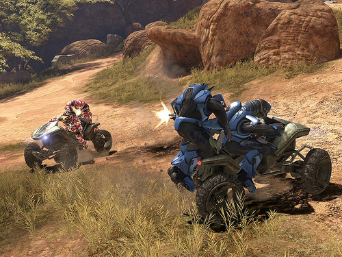 Players using Mongooses in Halo 3 multiplayer
