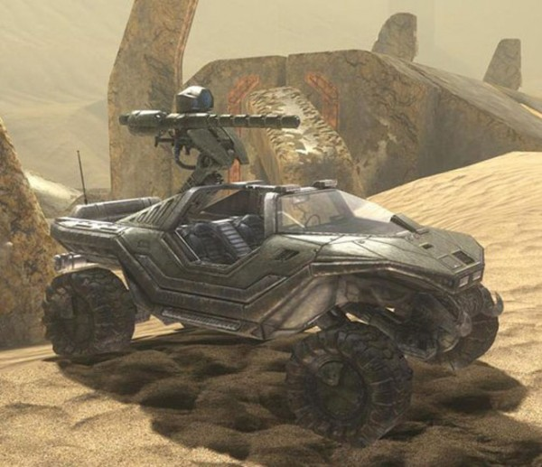 Halo 3 Gauss Warthog on the map Sandtrap