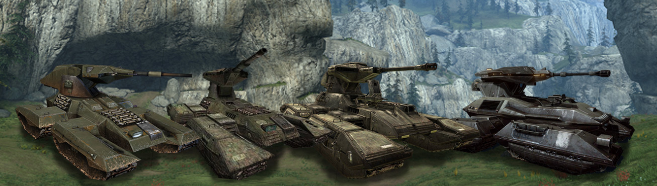 Scorpion tanks, left to right: Halo:CE-Halo 4