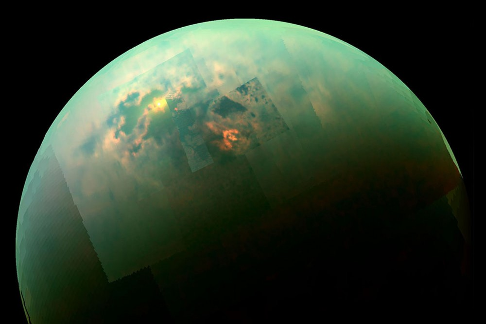 """False-color"" image of Titan, Saturn's largest moon, taken by Cassini probe"